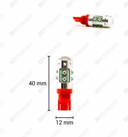 CanBus - T10 10-LED CREE 12V 1000 lm (kortere model) - Rød