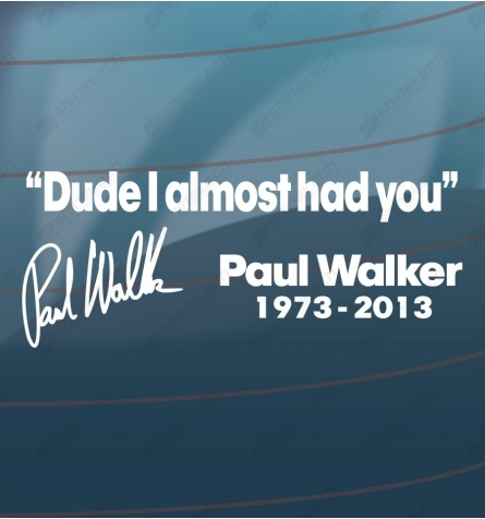 Dude I almost had you - Paul Walker
