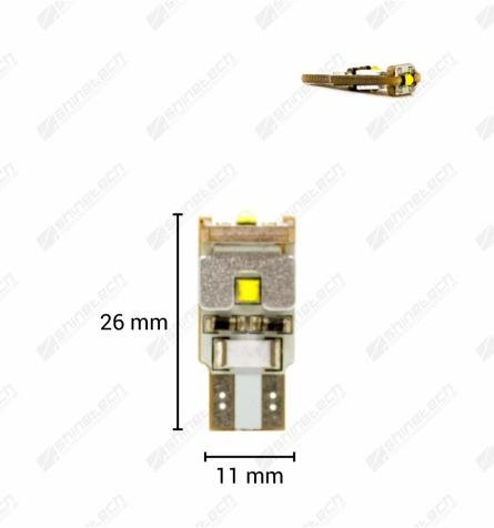 CanBus - T10 (W5W) 3-LED CREE 12V 300 lm - Kold hvid