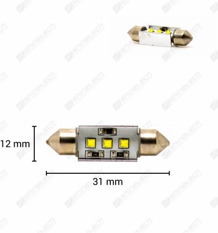 CanBus - Pinolpære 31mm 3-LED CREE 12V 300 lm - Kold hvid