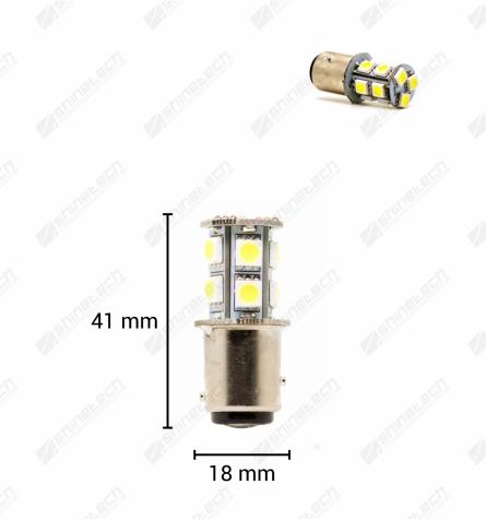 BAY15D (P21/5W) 13-LED SMD 12V - 260 lm - Kold hvid