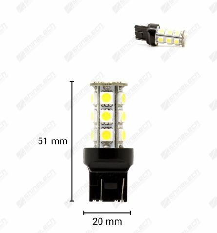T20 (W21/5W) 18-LED SMD 12V 300 lm - Kold hvid